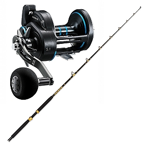 Live Bait Combo Daiwa Saltist Star Drag Power Gear 50P Reel with CHAOS Live Bait Rod