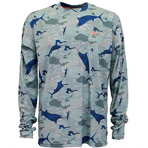 AFTCO Caster Long Sleeve Sun Shirt- Grey Camo