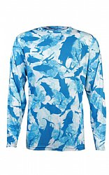 Flats Camo Performance Shirt- Aqua 2XL