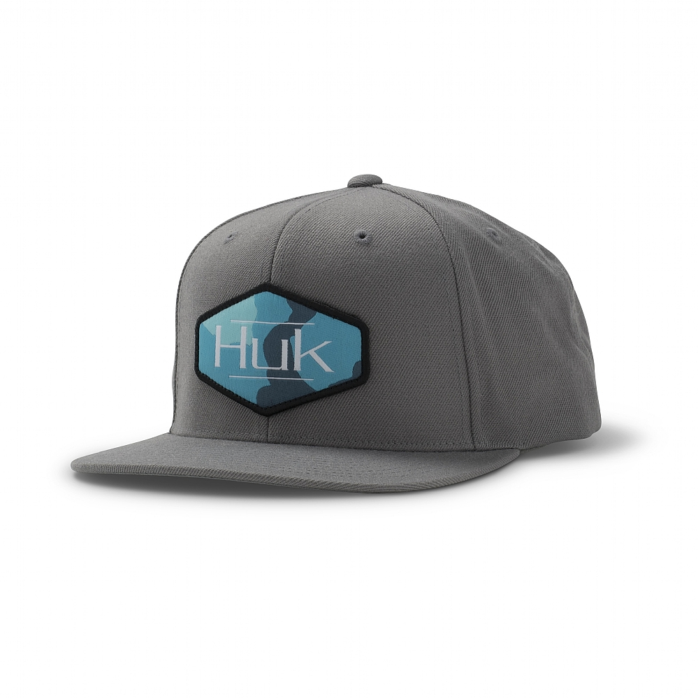 Youth Huk Performance Head Gear Bass Fishing Patch Blue Fitted Hat New