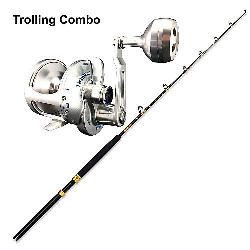 Trolling Combo Accurate Valiant BVL-800S Silver with CHAOS ECL 30-50 6FT 2PC CHAOS Gold