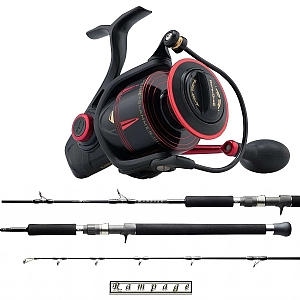 Show product details for Speed Jigging Combo Penn Slammer III 6500HS with a Temple Reef Rampage Spin Rod