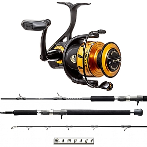 Show product details for Speed Jig Combo Penn Spinfisher VI SSVI7500 with a Temple Ref Rampage Vertical Spin Rod
