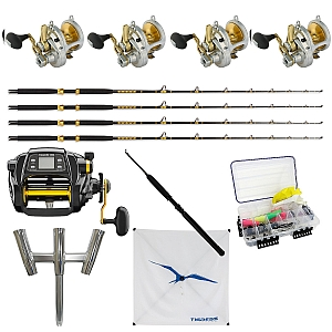 Show product details for Sailfish Set-up: 4 SHIMANO Talica 16 with 4 KC 15-30 7FT and TANACOM 1000 with Daiwa Kite Rod, Kite, Trident and Rigging Kit