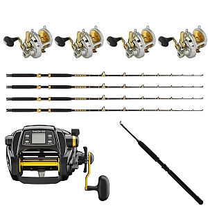 Show product details for Set of 4 Shimano Talica 16 with KC 15-30 7FT and  TANACOM 1000 Reel & Daiwa Kite Rod