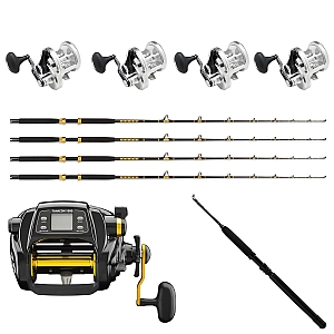 Show product details for Sailfish Combo: 4 SHIMANO Talica 20BFC, 4 KC 15-30 7' Rods , 1 Daiwa Tanacom 1000 and  Kite Rod