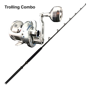Trolling Combo Accurate Valiant BVL-600S Silver and CHAOS ECL 30-50 6FT Blackout