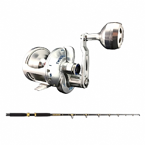 Trolling Combo Accurate Valiant BVL-800S Silver and CHAOS KC 20-40 7FT Live Bait Gold Rod