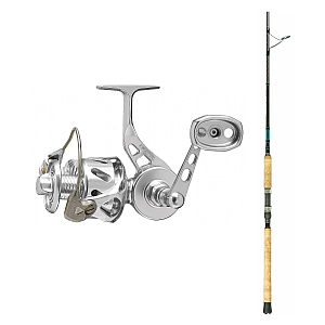 Show product details for Van Staal VSB-X Bailed Spin 200 Silver with SHIMANO Teramar XX South East Spinning Rod 80XXH