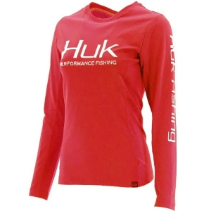 HUK Womens Icon Long Sleeve Hibiscus