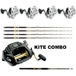 Show product details for Sailfish Combo: 4 SHIMANO Talica 20BFC, 4 KC 15-30 7' Rods , 1 Daiwa Tanacom 750 and  Kite Rod